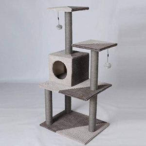 CQSMOO Cat Palace Arbre à Chat 3 Plateformes avec griffoir et Colonne de Taille L et Moyenne pour Chat 51 x 41 x 106 cm