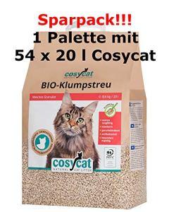 CosyCat 1 Palette de litière Bio pour Chat – 54 Paquets de 20 l – Meilleure litière