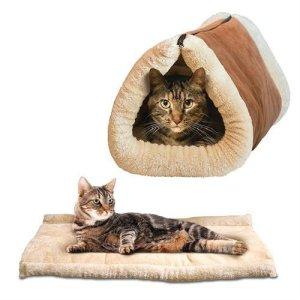 DinRoll Cat Lit Shack 2en 1Auto-Chauffant pour Animal Domestique Portable Tapis de Tube Tunnel pour Animal Domestique Bed-Brown
