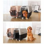 FESSLAND Mallette de Transport Durable pour Animaux de Comp Grand Pet Sky Chenil Crates Airline Trolley Pet Kennel avec Roues – Convient for Animaux de Compagnie Moins 55 kg
