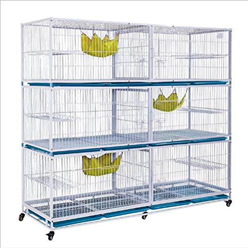 FTFDTMY Cage de Chat à Trois Couches, Cage d'affichage de Chat en Tube galvanisé, Cage d'élevage Solide et Durable, nid de Chat (Blanc/Rose),a