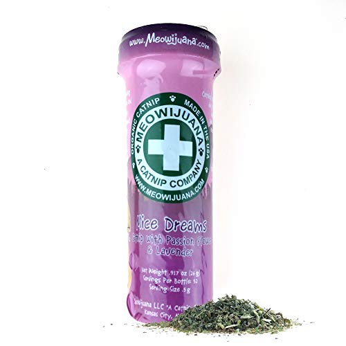 Meowijuana | Mice Dreams | Organic | Dried Premium Ground Catnip Blended with Passion Flower & Lavender | High Potency Cat Treats | Promotes Relax | Perfect for Toys | Feline Approved | 1 Pack