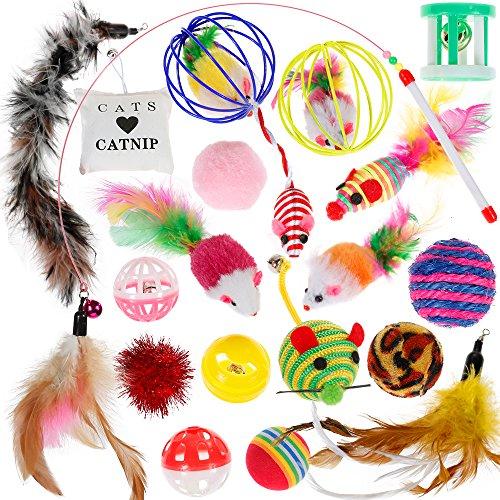Nabance Jouets pour chat et chaton – Jouets pour chat d'intérieur – Jouets à herbe à chat – Balles pour chat avec plumes et baguette – Jouets interactifs pour chat et chat