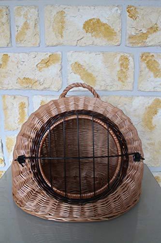 Panier de transport pour chat en osier avec grille métallique et coussin Taille L XL XXL 46 x 42 x 40 cm