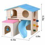 POPETPOP Animaux de Compagnie Animaux de Hamster Maison Funny Ladder Escalade échelle Glissière Cloche Cabane en Bois Play House (Bleu)