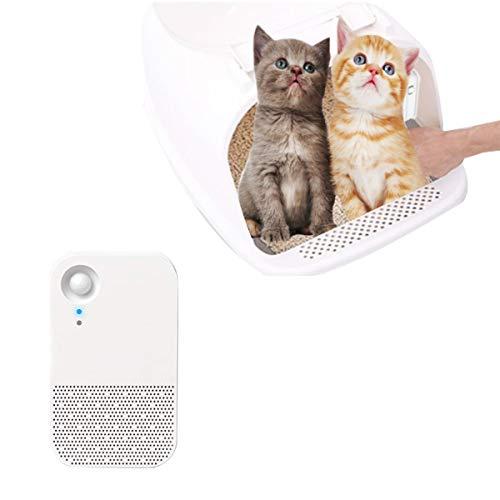 Umitvaz Boîte de désodorisant litière pour Chat, Marche/Arrêt Automatique, Double Mode réglable, Le purificateur d'air Désodorisant de litière de Chat, Intelligent boîte de déodorant