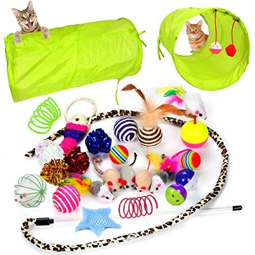 Youngever Lot de 24 jouets pour chaton assortis de tunnels à 2 voies en forme de plume pour chat, chiot, chaton