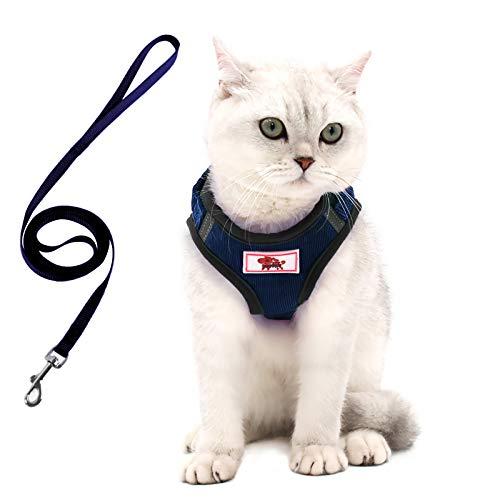 Harnais pour chat avec laisse, harnais pour chaton chiot – Laisse et harnais réglables pour petits chats chiens et chiots avec bandes réfléchissantes (S)