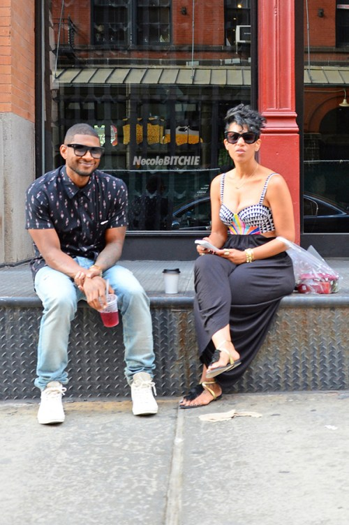 Usher and girlfriend Grace Miguel seen sitting and enjoying each other's company in NYC