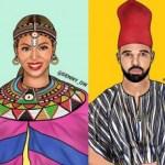 Art graphique : Les stars américaines en tenues traditionnelles africaines par Denny Ow