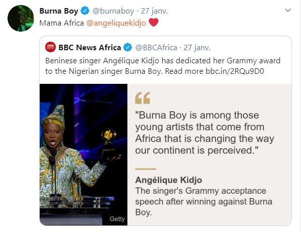 title Musique : Burna Boy félicite Angélique Kidjo pour son nouveau Grammy !