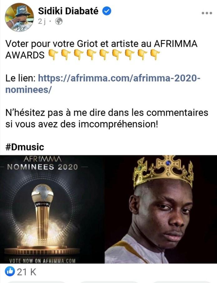 LES AFRIMMA AWARDS ANNULENT LES NOMINATIONS DE SIDIKI DIABATÉ
