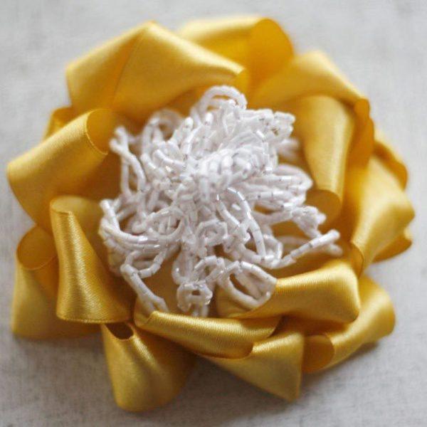 Carmina Blooms mustard yellow fabric flower and headband tutorial