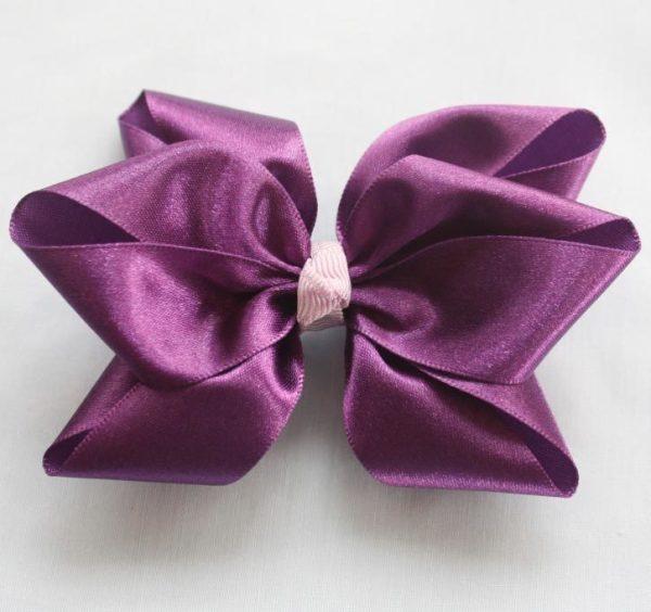 purple pointed hair bows tutorial