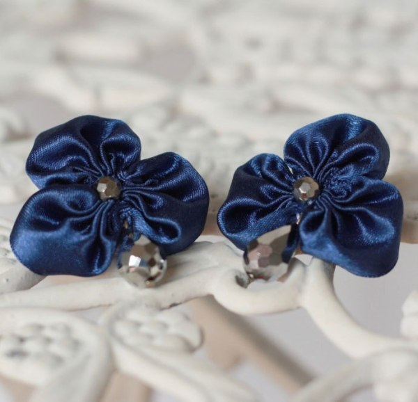 Navy Blue Statement Earrings made with the help of the Three Petal Ribbon Fabric Flower Tutorial
