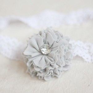 Dainty cornflower blue flower baby headband using the Ruffled Blossom Tutorial