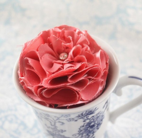 Pink Fabric Flower for Hair Clips and Brooches | Carnation Tutorial