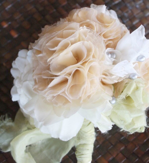 A lush diy fabric flower bouquet made with the Carnation Tutorial