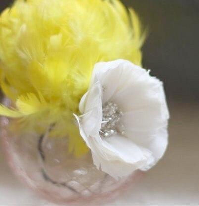 Feather Poppy Flower in a glass vase | DIY Wedding Decor Idea