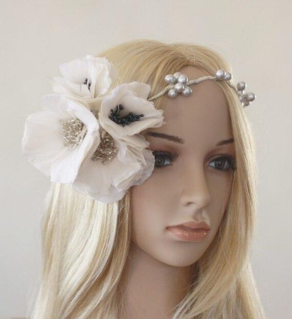 Hair crown / Hair vine with DIY Feather Poppy Flowers