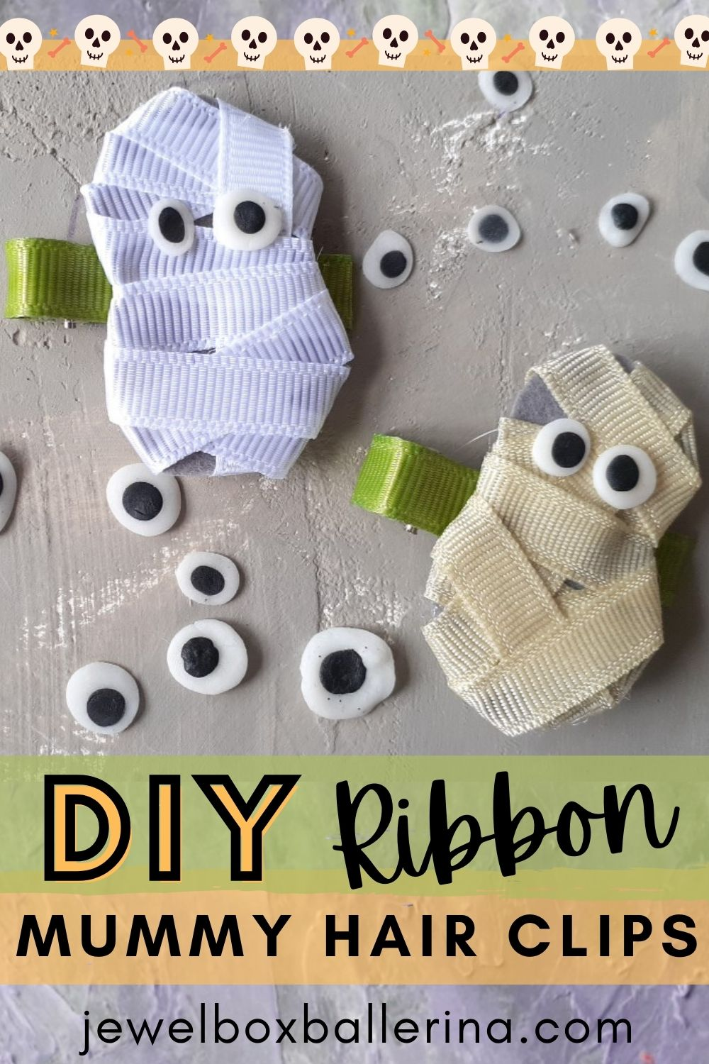 How to make a mummy hair clip with ribbons