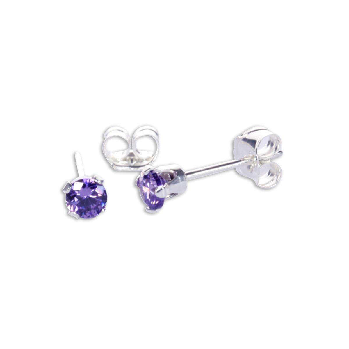 Sterling Silver Amethyst Cz 3mm Round Stud Earrings