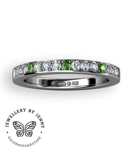 alliansring med gröna diamanter
