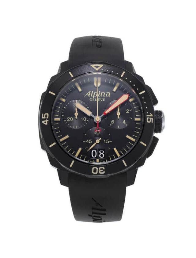 The Alpina Seastrong Diver 300 Black Chronograph Big Date  2