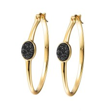 Elara's black druzy gold hoops