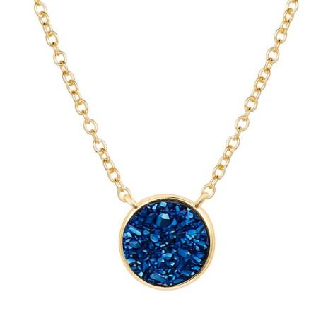 Elara's blue druzy gold pendant