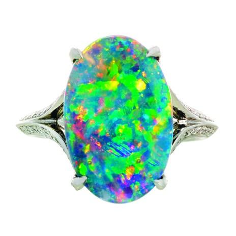 4.41 ct. Gem Australian Black Opal Ring by Jeffrey Bilgore