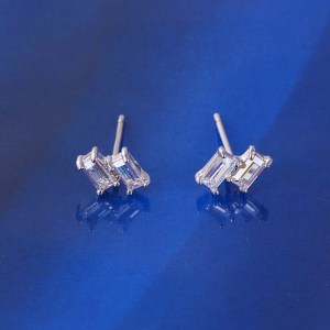 Silver Coloured Double Bar Cubic Zirconia Stud Earrings
