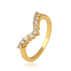 24K Gold Plated Copper V Cubic Zirconia Ring