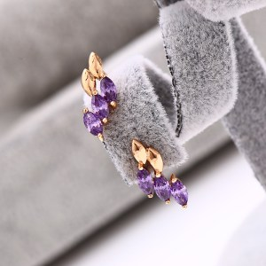 18K Gold Plated Copper Violet Cubic Zirconia Stud Earrings