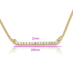 14K Gold Plated Copper Bar Cubic Zirconia Necklace
