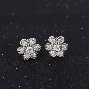 Silver Coloured Copper Cubic Zirconia Flower Stud Earrings