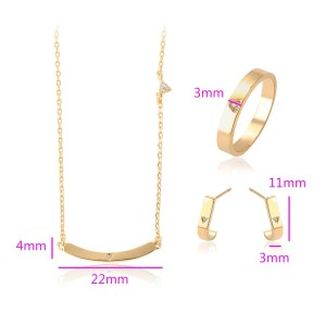 18K Gold Coloured Copper Bar Jewellery Set (Earrings + Necklace + Ring)