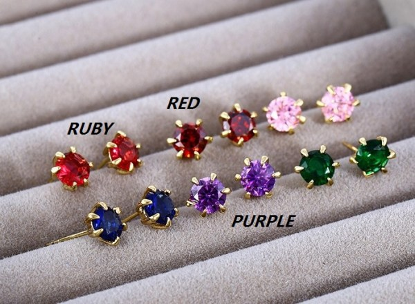 6mm   14K Gold Plated Copper Cubic Zirconia Round Stud Earrings