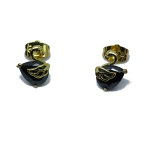 Gold Plated Copper Swan Cubic Zirconia Stud Earrings