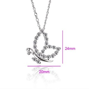 Silver Coloured Open Butterfly Cubic Zirconia Necklace