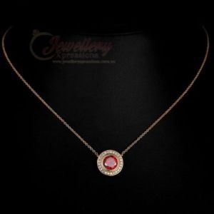 18K Gold Plated Copper Ruby (Stimulated) Necklace