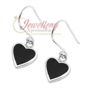 925 Sterling Silver Black Onyx Heart Hook Earrings