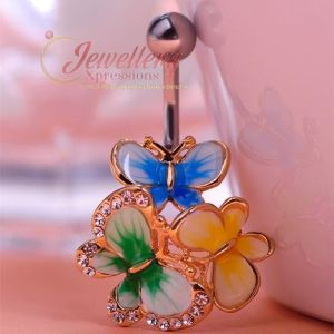 G-1.6mm | Stainless Steel Butterfly Navel Belly Bar Ring