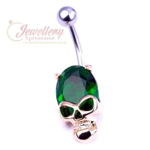 1.6mm | Stainless Steel Skeleton Skull Head CZ Piercing Belly Button Navel Ring