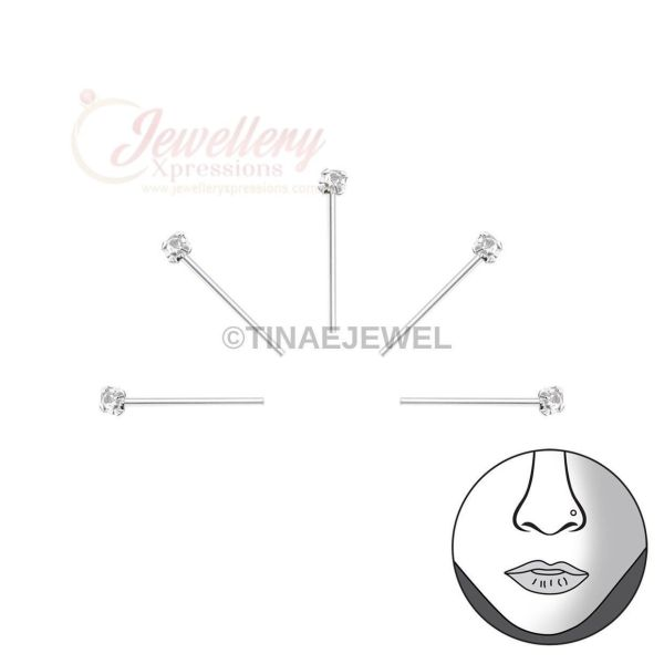 1.2mm | 5pcs 925 Sterling Silver Nose Studs with Clear Crystal