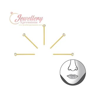 1.2mm | 5pcs Round Gold 925 Sterling Silver Nose Studs Nose Ring with Crystal
