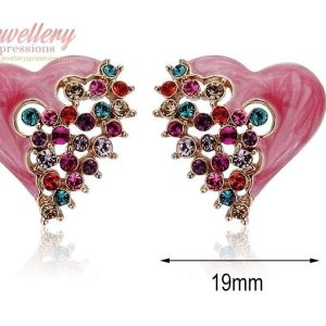 Elegant Gold Plated Pink Heart Stud Earrings with Cubic Zirconia