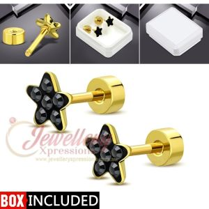 G-1.0mm   Gold Color Plated Stainless Steel Star Ear Studs W/ Jet Black CZ (pair)