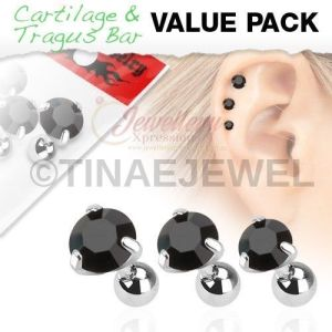 G-1.2mm|3 Pcs Value Pack of Assorted 316L Tragus Bar with Black Round Gem Top