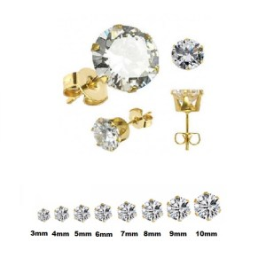 Gold Plated Stainless Steel Cubic Zirconia Stud Earrings